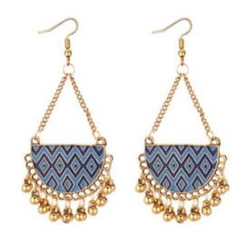 Wholesale long metal wholesale fashion earrings - 2018 New arrival Indian style Drops of oil Metal ball charm Summer geometric alloy tassel earrings Long temperament fashion earrings 136