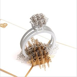 Gold Laser Cut 3d Diamond Ring Pop Up Wedding Invitations Romantic Handmade Valentine's Day for Lover Postcard Greeting Gift Card