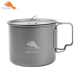 Wholesale Titanium Camp Pot - Toaks 550ml Titanium Mug Ultralight Titanium Bowl Pot Outdoor Camping Picnic Titanium Coffee Mug Folding Handle Ti Cover Pot -550