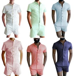 Wholesale Beach Cargo Pants - Fashion Summer Style Party Overalls Short Sleeve Men's Beach Rompers Creative Painting Designed Jumpsuit Brand Clothing