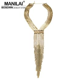 dresses singapore Promo Codes - ijoux fashion MANILAI Fashion Chain Tassel Collar Rhinestones Long Necklaces Big Statement Jewelry Women Evening Dress Accessories Maxi B...