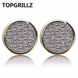 Wholesale White Plastic Hoops - TOPGRILLZ 2018 New StyleHip Hop Men Women Earring Copper Gold Color Plated Iced Out CZ Stone Lab D Stud Earring With Screw Back