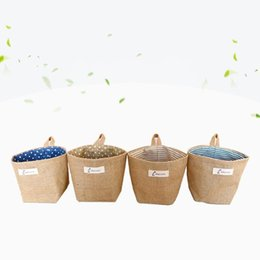 hamper clothes basket Coupons - Jute Semicircle Hanging Pouch Thicken Label Design Storage Bags Space Saving Folding Hamper Laundry Basket Fashion 5 2xy BB