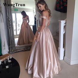 dama de honor azul real fajas de cristal Rebajas 2019 Sexy Off Shoulder Satén Prom Dresses con cuentas Sash A-Line Red Carpet Vestidos de gala largos formales Vestidos de noche de fiesta
