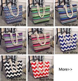 Wholesale Large Shopper - Girl Casual Summer Canvas Shopper Shoulder Bag Striped Beach Bags Large Capacity Tote Women Ladies Casual Shopping Handbag