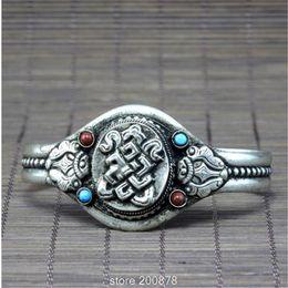 weißes knotenarmband Rabatt BB-060 Tibet Weißmetall Kupfer Antik Silber Amulett offene Manschette Armreif, tibetische endlose Knoten Mantras Armband