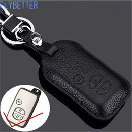 Wholesale Remote Control Chain - FLYBETTER Genuine Leather Remote Control Key Chain Cover Case For Toyota Prado Crown Camry Reiz 3Buttons Smart Key Holder L1837