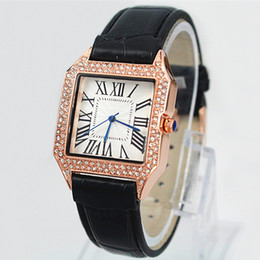 Wholesale Diamond Crystal Dress - 2018 classic Brand new Fashion Luxury wristwatch Women genuine Leather Watch full Diamond Quartz rose gold silver Dress Watch Crystal clock