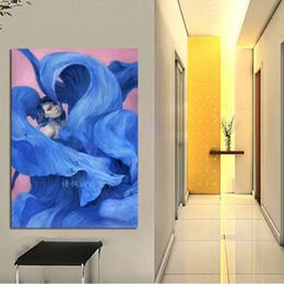 portraits bleus Promotion Portrait peint à la main peinture à l'huile toile art moderne abstraite fille avec robe bleue photos cadeau de décoration
