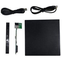 Wholesale External Slim Enclosure - Portable Slim USB 2.0 DVD CD DVD-Rom IDE External Case for Laptop Notebook Black External Hard Drive Disk Enclosure Hot Sale