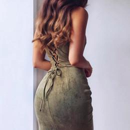 X mujeres de gamuza vestidos de verano sin tirantes sexy ahueca hacia fuera sin espalda sólido vestido midi sin mangas bodycon vestido de fiesta de noche Vestidos desde fabricantes