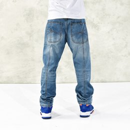 Wholesale Jeans Large Hip Hop - 2017 new casual large size 42 44 46 jeans men plus fertilizer to increase the individuality fashion Hip-hop jeans Loose