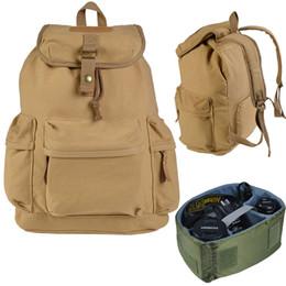 Argentina Khaki Camera Case Backpack Shoulder Carry Travel Bag para DSLR Canon Nikon Canvas Suministro