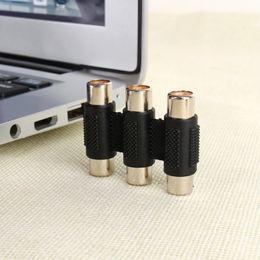 Conector hembra de video online-Triple puerto 3 hembra a hembra RCA AV Audio Video F / F Jack Conector Acoplador Adaptador Extensor