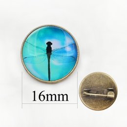 Wholesale New China Sweaters - 2017 New Animal Brooch Dragonfly Art Picture Round Glass Dome Brooches Pins For Suit Sweater Animal Handmade Jewelry