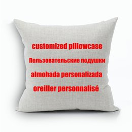 Wholesale Custom Print Design - Custom Designs Linen Pillow Cover Print With Your Pictures Texts Designs Photos Unique DIY Square Throw Pillowcase for Gift