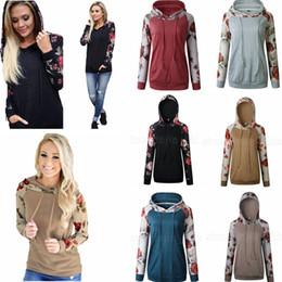 Camisola de blusa raglana mulheres on-line-6styles Mulheres Patchwork Raglan Floral Impresso Hoodies Com Capuz Pulôver Outono Camisolas de Manga Longa Roupas Tee Top Camisola Ocasional FFA1177