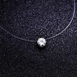 Argentina Cuadrado de la manera 6 Garra Cz Stone Crystal Zircon Collar Invisible Collar de Cadena de Pesca Transparente Para Las Mujeres cheap zircon stone necklace Suministro