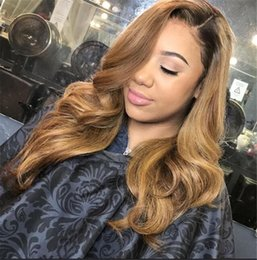 elastic lace wig Promo Codes - Brazilian Ombre Body Wavy Glueless Full Lace Human Hair Wigs 1B 27 Honey Blonde Two Tone Lace Front Wigs 130 Density Bleached Knots