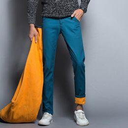 Wholesale Winter Jeans For Men - Wholesale-2017 Winter Fleece Men Jeans Slim Fit Men's Fashion Cotton Denim Jeans Casual Pants Warm For Snow warm jeans