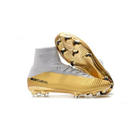 Wholesale Genuine Leather Boots Kids - 2018 womens soccer cleats mercurial superfly CR7 Quinto Triunfo FG soccer shoes boys mens high top football boots kids neymar ronaldo