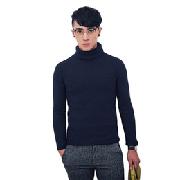 Wholesale winter turtleneck sweaters for men - 2017 Warm Winter Turtleneck Sweater Men's Knitting Pullover Fashion Slim Long Sleeve Tops Sweater for Males Sweater Clothing