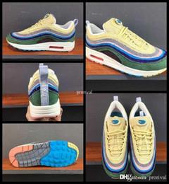 Wholesale Fashion Men Sport Shoes - 2017 Fashion 97 Sean Wotherspoon X Men Women Running Shoes Mens 97s 97 1 Vivid Sulfur Multi Yellow Blue Hybrid Sports Sneakers 36-44