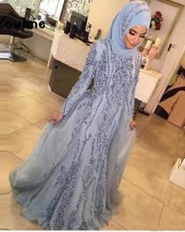 881fa1928d8 De luxe Musulman Manches Longues Robes De Soirée Avec Hijab Cristal Sirène  Formelle Partie Dubaï Turc Arabe Argenté Robes De Soirée Robe De Festa peu  ...