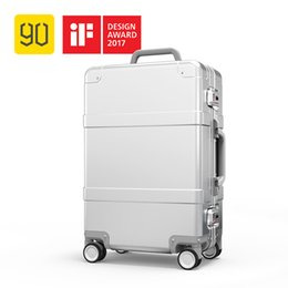 2019 spinner alluminio 90FUN Bagagli in alluminio, lega di alluminio Carry on Suitcase con rotella TSA Unlock, Silver 20 Inch sconti spinner alluminio