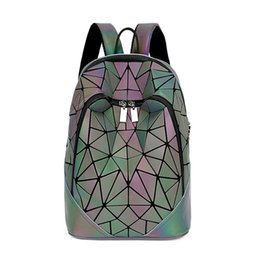 Fashion Women Backpack Geometric Luminous Backpacks Bagpack Girls  Noctilucent Travel Shoulder Bags For School Back Pack 2bf6cf2080