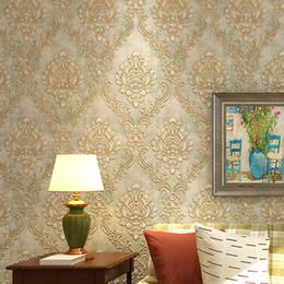 2019 blocs en bois anciens Papier peint damassé de rayures non-tissées de style européen pour la coloration 3D de fond d'écran de salon de chambre à coucher de relief stéréo AB