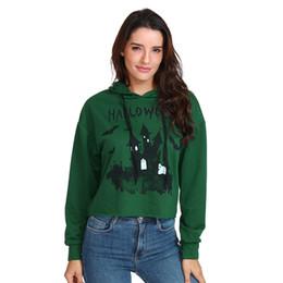 Argentina Mujeres 2019 Castillo Con Capucha de Halloween Imprimir Sudadera Manga Larga Chándal Corto Verde Sudadera Con Capucha Pullover # 10 cheap sweatshirt green Suministro