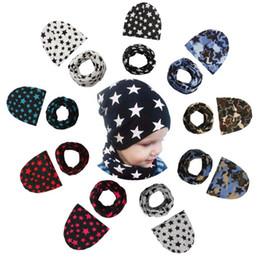Wholesale toddler girls scarves - Baby Hats Scarves Set Camo Stars Printed Spring Autumn Winter Girl Boy Cap Children Toddler Kids Hat Scarf Set NNA287