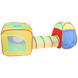 Wholesale Pop Tunnel - Baby Playing House Tents Cubby-Tube-Teepee 3in1 Pop-up Play Tent Children Tunnel Kids Adventure House Toys