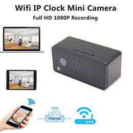 Wholesale Hd Table Clock Camera - Table Clock Camera Alarm Setting 720P HD H.264 Mini Camera IR Night Vision Wifi IP Clock Mini DV DVR Camcorder Wifi Cam