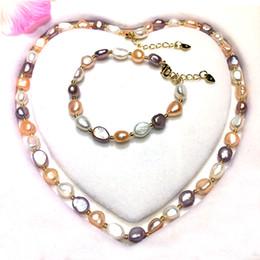 2019 perlen armband halskette gesetzt Perlenkette Armband Set Barock Perle 16 '' natürliche Perlenkette für Frauen 3 Farbe 8-9mm Perlen Schmuck Hochzeitsgeschenke rabatt perlen armband halskette gesetzt
