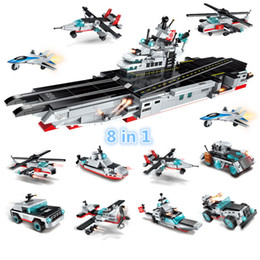 Wholesale military aircraft toys - 643pcs Enlighten 8 in 1 Combat Zones Military Army Cars Aircraft Carrier Weapon Building Block Brick Toy for children #1406