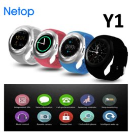 Wholesale Russian Business - Netop Y1 Smart Watch Round Sharp Support Nano SIM with Whatsapp Facebook Business Smartwatch Push Message For IOS Android Phone Free DHL