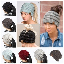 Wholesale Hole Warmer - 6 Colors CC Confetti Print Ponytail Caps CC Knitted Beanie Fashion Winter Warm Hat Back Hole Pony Tail Casual Beanies LJJY966
