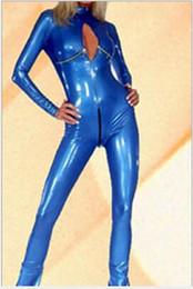 costume blu in lattice Sconti Wetlook Shiny Blue Leather Catsuit Costume Crotchless Open Busto Faux Leather Tuta Sexy Latex Body Donna Nightclub Wear