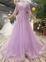 2019 vestidos de decote profundo sweetheart MAGGIEISAMAZING Atacado High Neck voltar lace até uma linha de manga comprida Prom Vestidos com trem de varredura CYH612470