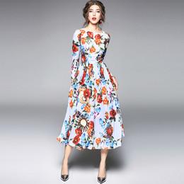 2019 vestidos estampados de flores Vestido de mujer de la nueva moda en otoño estampado gasa manga larga definió vestido largo cintura túnica fiesta de noche floral
