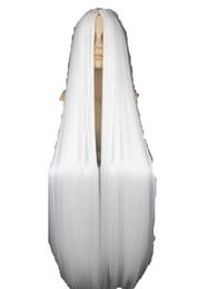Salon de coiffure blanc en Ligne-Fei-Show Blanc Perruque 100 CM / 40 Pouces Synthétique Fibre Résistant À La Chaleur Long Halloween Costume Cos-play Carnaval Droite Salon Cheveux