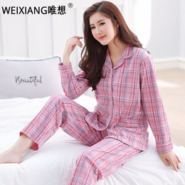 00e089ab12 WEIXIANG 2-piece suits loungewear women cute simple 100% Cotton sleepwear  for women pajamas sets bamboo pajamas