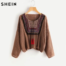 Wholesale Neck Yoke - Wholesale-SHEIN Tasseled Tie Embroidered Yoke Eyelet Jumper Autumn 2017 Coffee Round Neck Long Sleeve Casual Loose Sweater