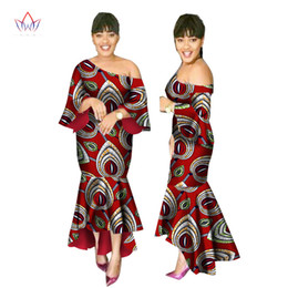 african wax women dresses Coupons - 2019 Summer African Dresses for Women Ankara One-shoulder Dress Batik Wax Print Shuffle Sleeves Mermaid and Maxi Dress WY2247