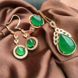 e6b50e1a1791 Joyas KJJEAXCMY 925 anillo de médula de jade verde natural con incrustaciones  de plata pura + colgante de 3 piezas con planta ovalada de diamante s