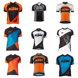 Wholesale 4xl Motorcycle Jersey - KTM team Cycling Short Sleeves jersey New off-road motorcycle outdoor locomotive short-sleeved T-shirt fashion riding suit D301