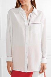 Wholesale Equipment Blouses - 2018 Spring 100% Silk Long Sleeves Turn-Down Collar Striped Print With Pocket Lady Blouse Fashion EQ Equipment Shirt Shirts N20 RSSK