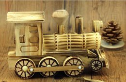 Wholesale Unique Holiday Decorations - Natural wooden craft ornaments creative gifts unique decor bedroom children toys wooden locomotive home decoration crafts